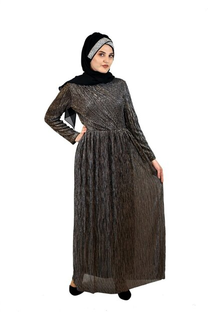 Hijab Sequined Evening Dress Copper SYR05297