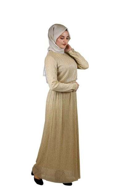 Hijab Sequined Evening Dress Gold SYR05302