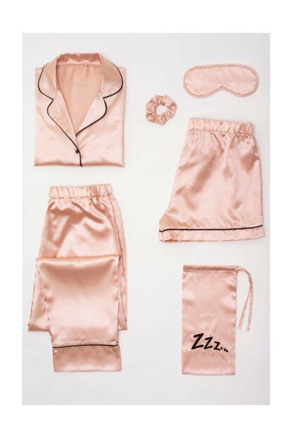 Women's Satin 6s Pink Pajama Set FM000073