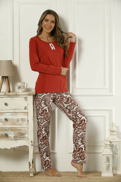 Women's Patterned Cotton Lycra Pajama Set 19221722