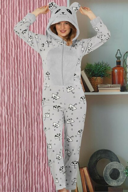 Women's Gray Panda Patterned Fleece Plush Jumpsuit Pajama Set 14952503