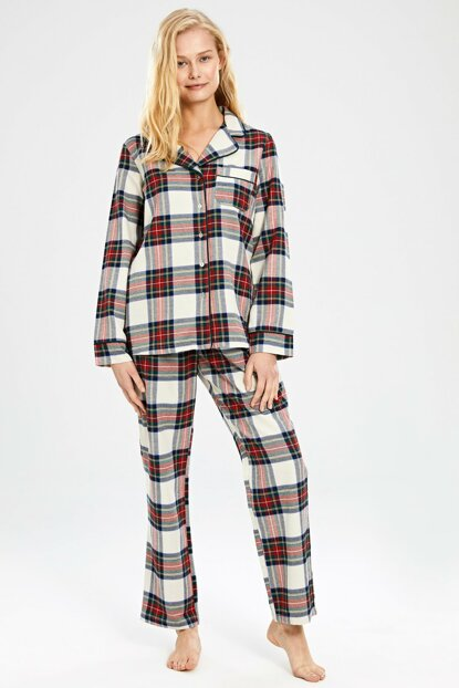 Women's Red Plaid Pajamas Set 9WN255Z8