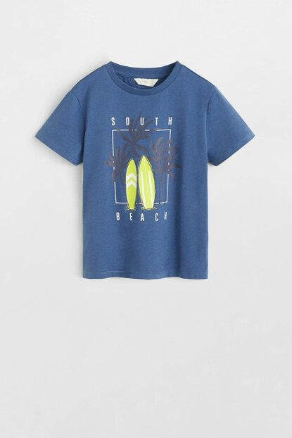 Navy Blue Boy Patterned Cotton T-Shirt 53000831
