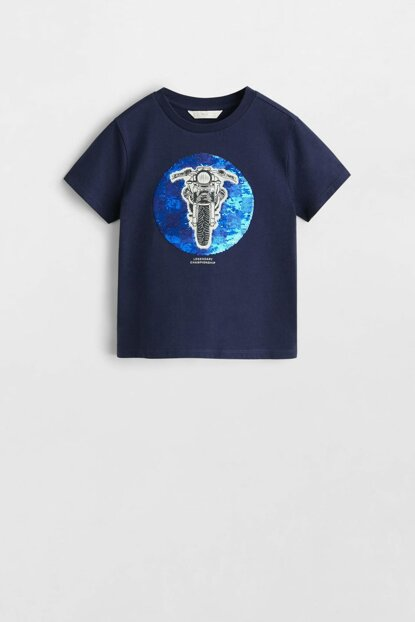 Navy Blue Boy T-Shirt With Sequin 53000820