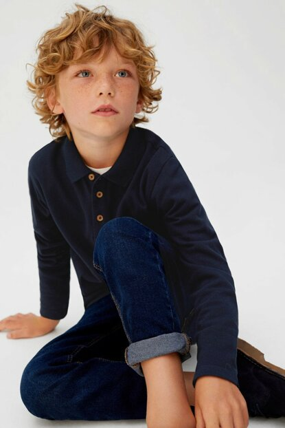 Navy Blue Boy Long Sleeve Cotton Polo Tshirt 53053720
