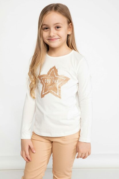 Ecru Young Girl Star Printed Long Sleeve T-Shirt K4347A6.19SP.ER105