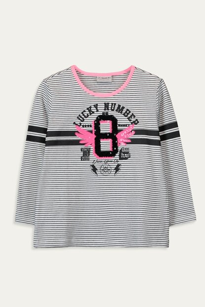 Girls' Black Striped Leg T-shirt 9WG934Z4