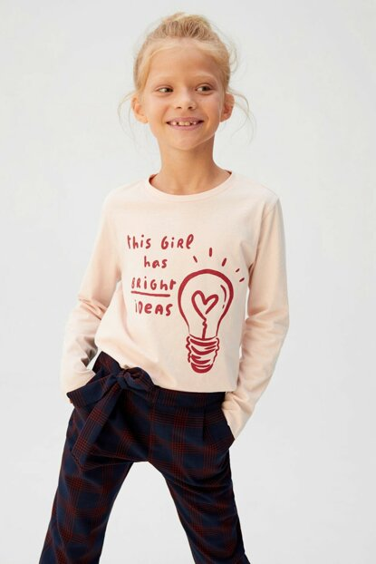 Light Pink Girl Kid Printed T-Shirt 57035917