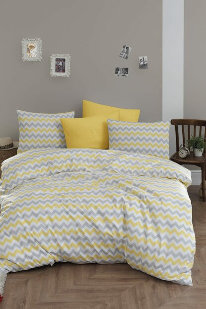 100% Natural Cotton Double Duvet Cover Set Zigzag Yellow-Gray 2822v1 Ep-018483