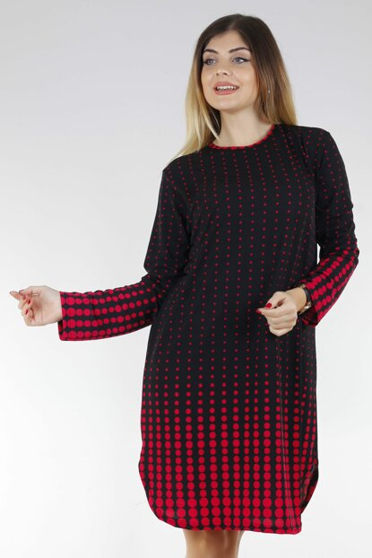 Women's Red Polka Dot Patterned Crepe Tunic-Dress FTS010.