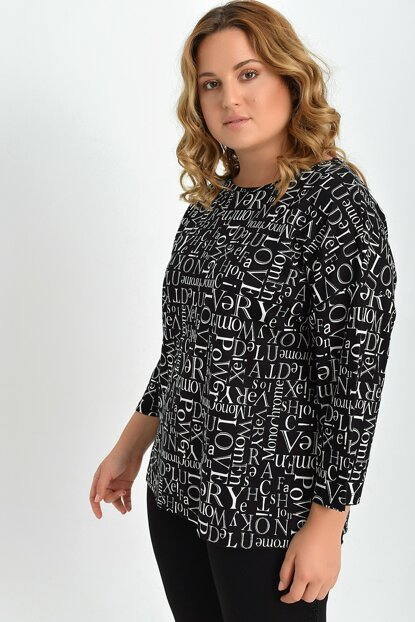 Women's Black Wide Neck Print Blouse TB20KB452994
