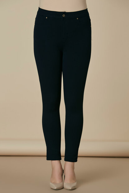 Women's Navy Blue Cotton Pants 1369P.