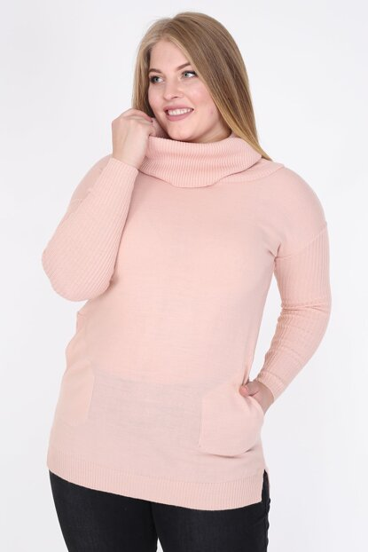 Women Powder Pockets Degaje Neck Sweater Tunic SFX004