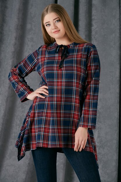 Women's Burgundy Neckline Lace Detailed Plaid Tunic 6599.