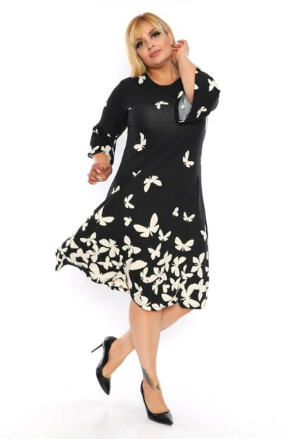 Women Black Butterfly Pattern Flywheel Sleeve Crepe Dress 1909029