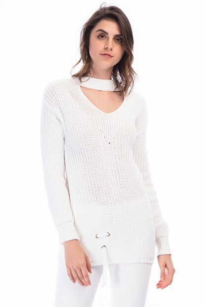 Women Ecru Back Detailed Knitwear Sweater NDA004