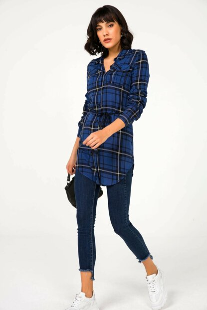Women Navy Blue Waist Bind Plaid Tunic Shirt S-20K3570009