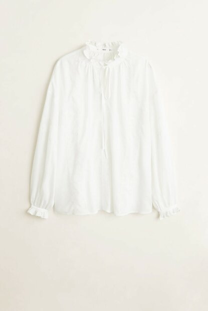 Women's Off White Frilly Embroidered Shirt 53020894