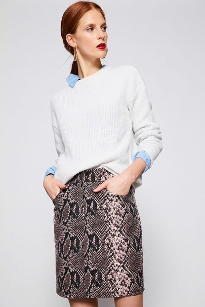 Women's Coffee Patterned Skirt 9KAF70310GW