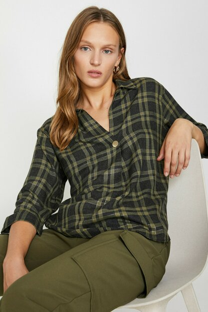 Women's Green Plaid Blouse 0KAK68292PW