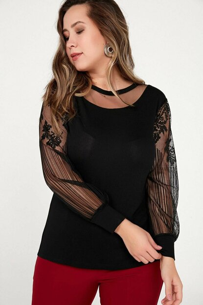 Women's Black Sleeves And Front Tulle Strawberry Lycra Blouse Black S-20K3280008
