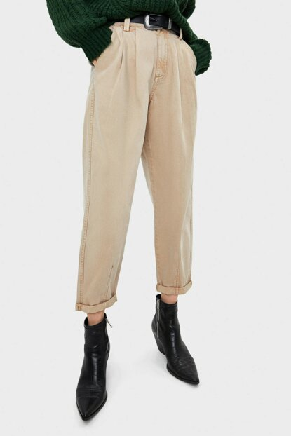 Women Sand Color Pencil Harem Pants 05237019