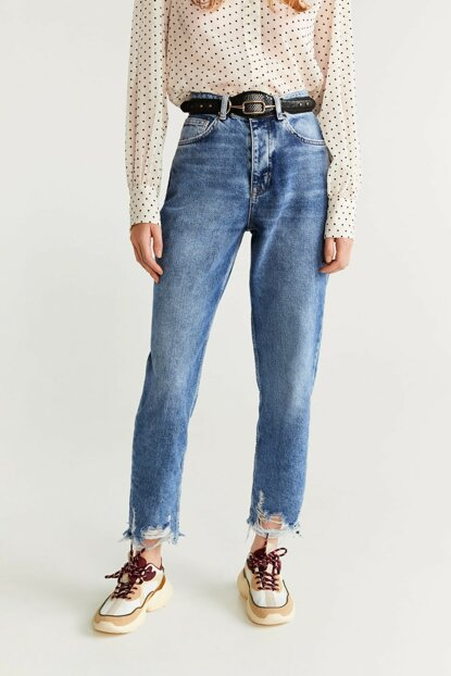 Women's Dull Blue Ripped Relaxed Jean Pants 57027690