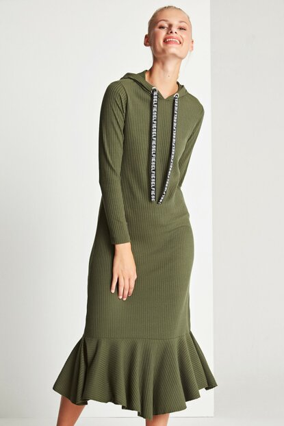 Women's Khaki Hoodie Dress 50170