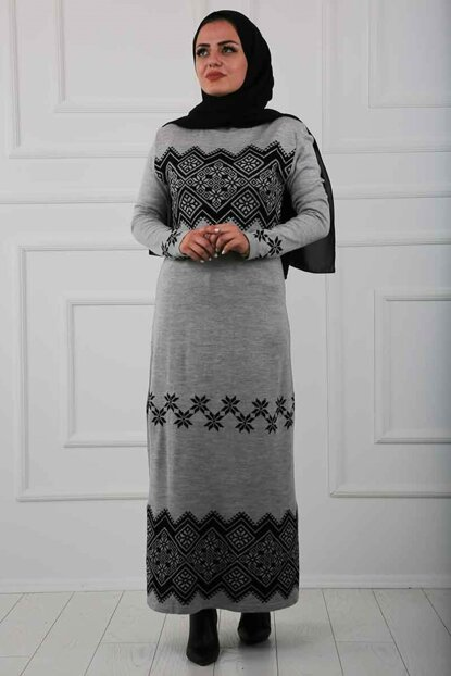 Women's Gray Hijab Sweater Dress 6087-009