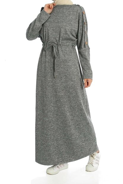 Women's Gray Sleeve Button Detail Waist Tunneled Dress ELB03209_GRN