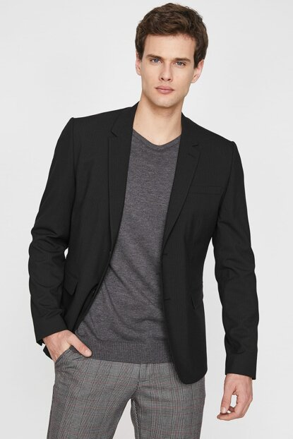 Men's Black Classic Collar Jacket 9YAM51308NW