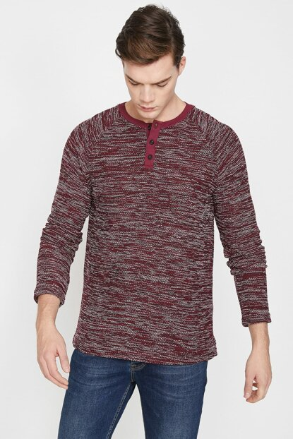 Men's Burgundy Button Detailed Sweater 9KAM91390HK