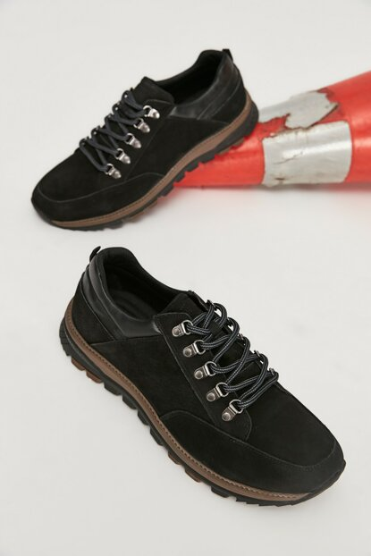 Genuine Leather Black Men Casual Shoes 02AYY162570A100
