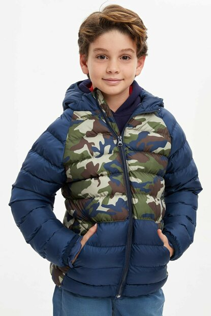 Camouflage Printed Color Block Hooded Coat N5637A6.19WN.IN18