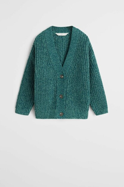 Emerald Green Girls' Organic Cotton Blended Flecked Cardigan 57079211