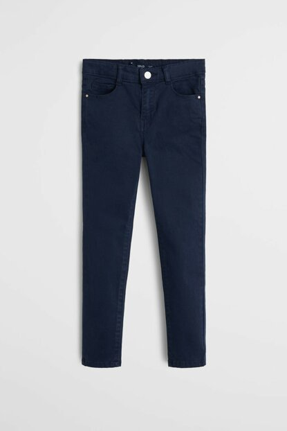 Navy Blue Girls Skinny Soft Trousers 53083727