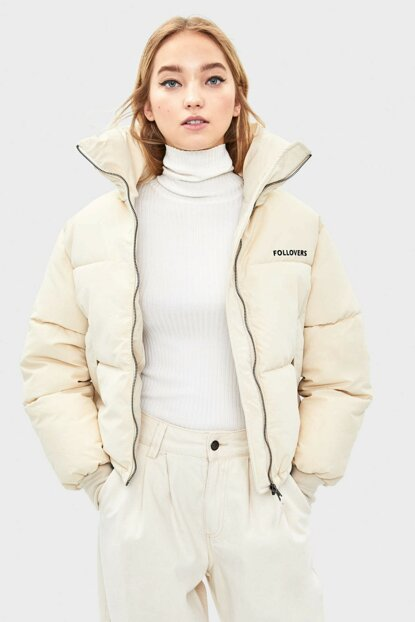 Women's Dirty White Inflatable Coat 06296551