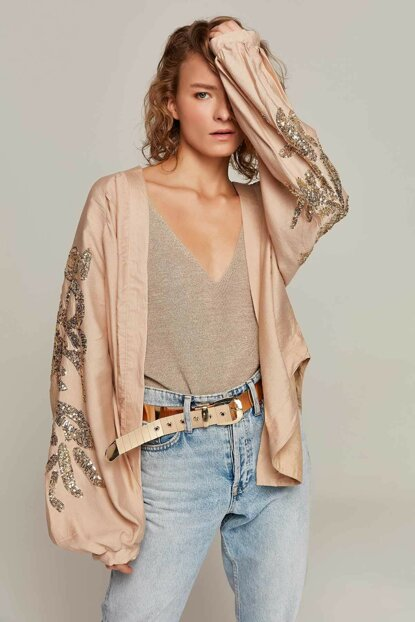 Women's Beige Balloon Sleeve Sequins Embroidered Buttonless Jacket 30708 Y19W109-30708