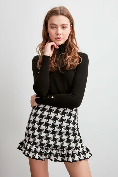 Black Crow Patterned Skirt TWOAW20ET0654
