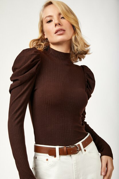 Women's Brown Knitted Blouse
