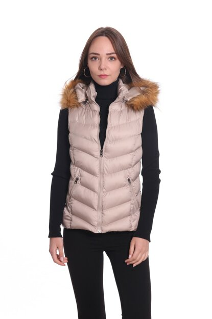 Women's Hooded Inflatable Vest Y268 Beige / Beige 29W53000268