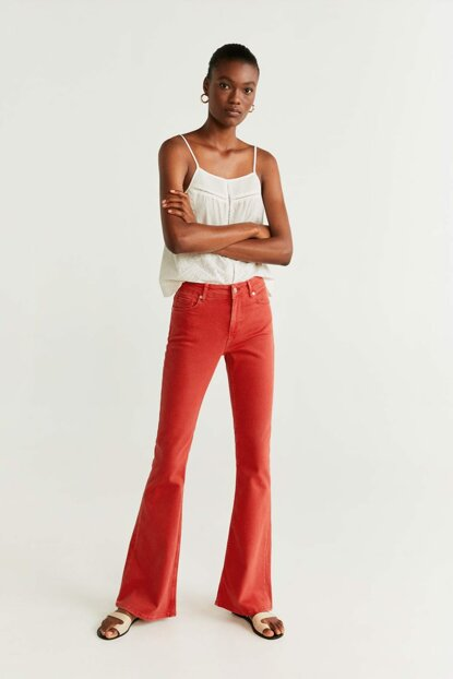 Women's Red Spanish Long Flare Jean Pants 53000586