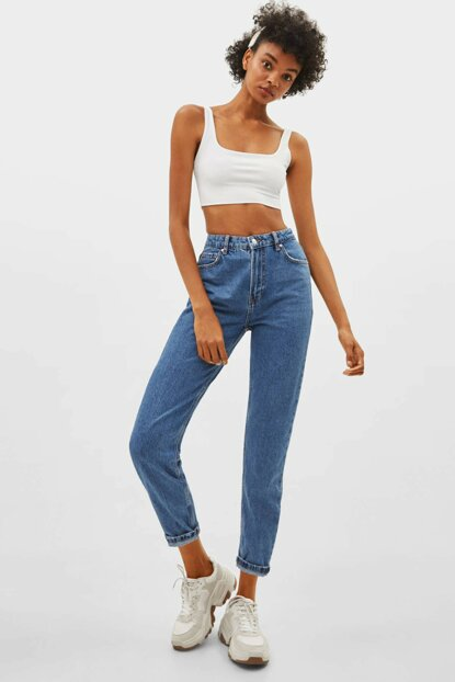 Women's Light Blue High Waist Mom Fit Jean 00029352