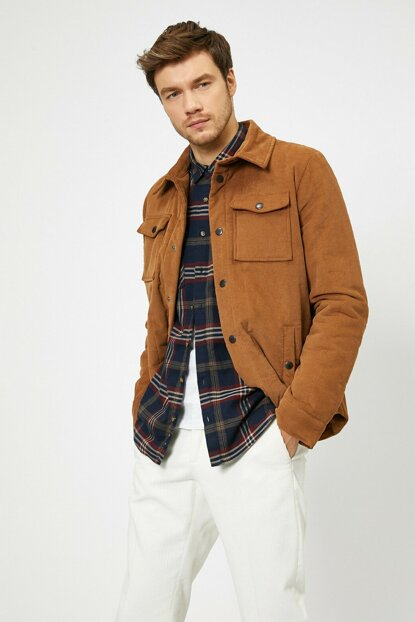 Men's Brown Button Detail Coat 0KAM21063NW