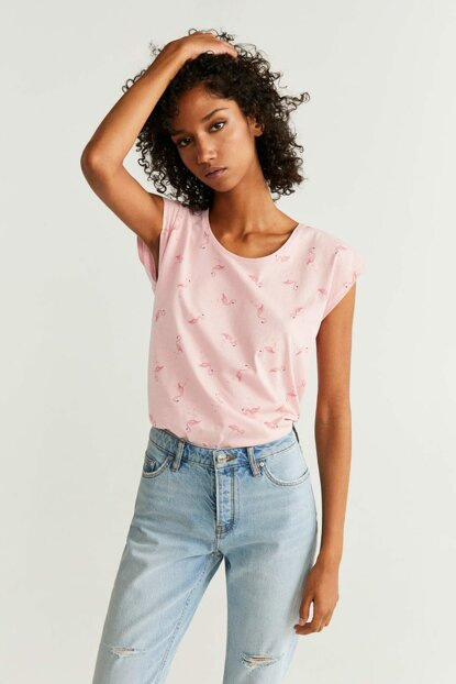 Women's Pastel Pink Patterned Cotton T-Shirt 57003650
