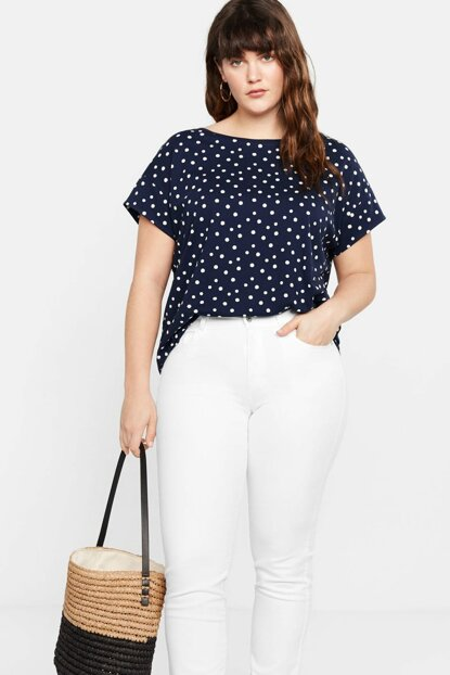 Women's Navy Blue Polka Dot Cotton T-Shirt 53080579