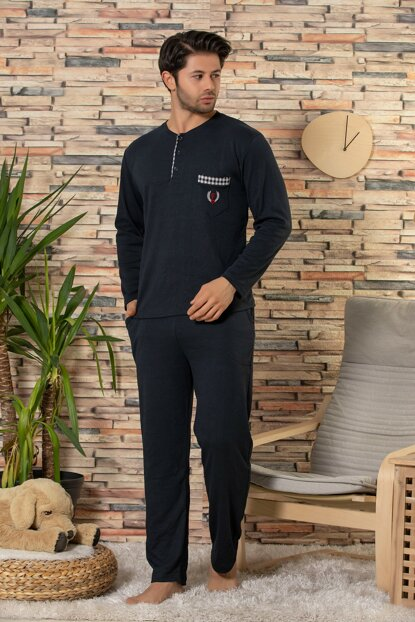 Men's Navy Blue Cotton Long Sleeve Interlock Sleepwear Suit 22526