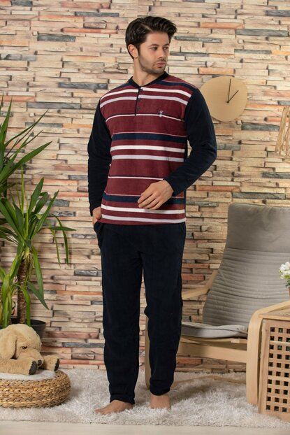 Men's Burgundy Fleece Sleepwear Suit 22554