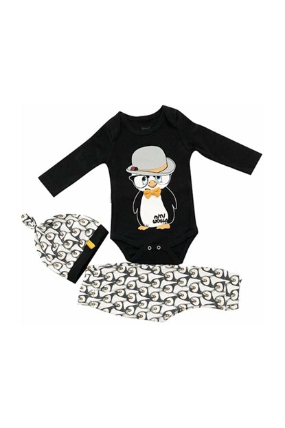 Black baby boy 6-9 months penguin set of 3s badili suit 14132