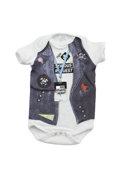 Printed Baby Short Sleeve Snap Snap Body UYGBB00140